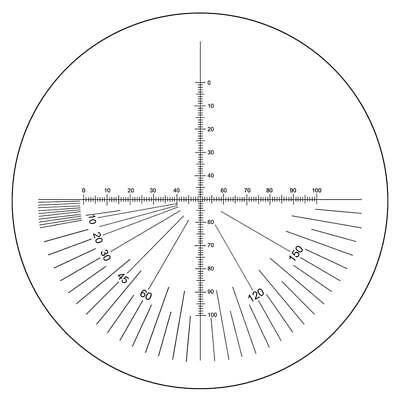 Microscope Eyepiece Reticle Cross Line Micrometer Ruler, 180° Angle, Dia. 20mm