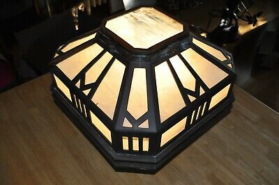 Important Arts & Crafts Bronze & Slag Glass Great Flush Mount Ceiling Fixture