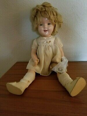 "20"" Vintage Ideal Shirley Temple Composition Doll w/ rare Shirley Temple pin"