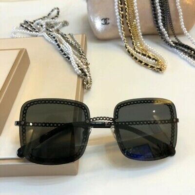 1e5b7d43332a 100% AUTH CHANEL Summer 2019 Black/Blue Square Chain Sunglasses NIB ...