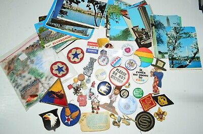 Vintage Estate Junk Drawer Lot Postcards DC BSA Patches Politics Pins Marbles