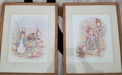 1987 Peter Rabbit Framed Beatrix Potter Portraits Prints Sets Vtg 8x10 McGregor