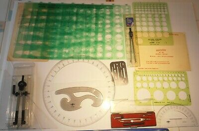 VTG 22+Pcs Lot Drawing Drafting Design Timely 92 15/60 Alvin Compass MORE LOOK