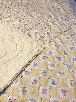 Vintage Baby Quilt Hand Knotted Yellow Gingham Blank W Bunnies Flowers Butterfly