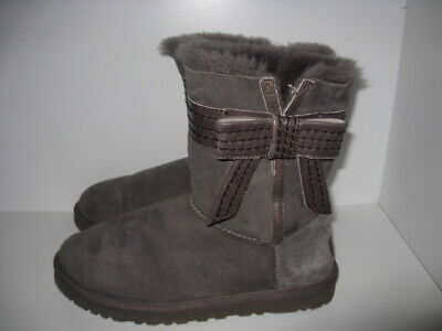86883a5dadc WOMENS SZ 9 UGG Josette Suede Leather Gray Bow Boots