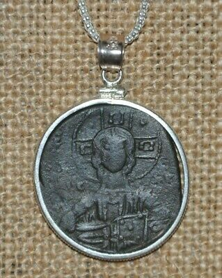 Authentic Ancient Roman Empire Byzantine Jesus Christ Coin 925 Sterling Necklace