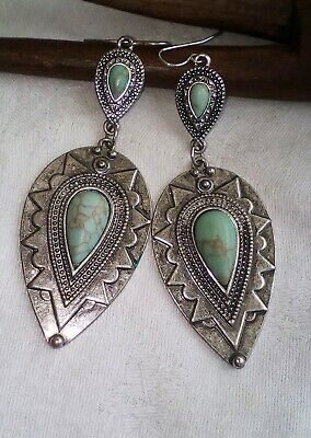 Vintage Style Earrings Carved Metal Turquoise Dangle