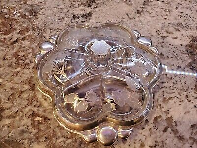 Rare with lid Vintage Silver City Flanders sterling overlay covered divided dish