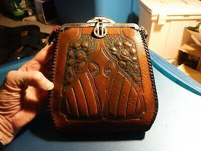 Small Antique Meeker Leather Arts and Crafts Purse