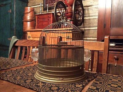 Wonderful Antique Metal Bird Cage with Glass Feeders