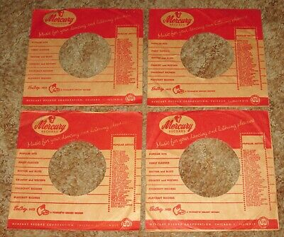 45 RPM RECORD COMPANY SLEEVES - MERCURY RECORDS Lot of 4 (1950's)