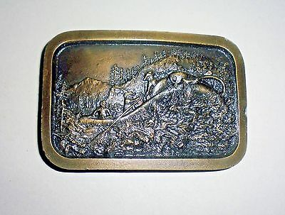 White Water Rafting Belt Buckle-RARE-Vintage Collectible-Indiana Metal Craft