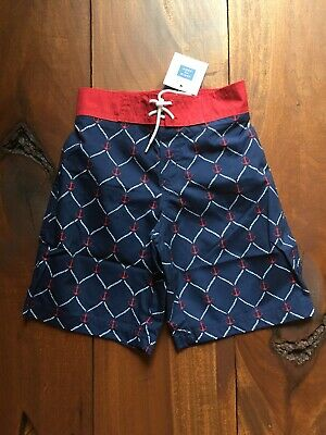 8947cf02d8 New Janie and Jack Boys Swim Shorts Trunks Size 5 Navy Red Anchors Print