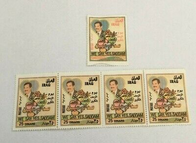 Iraq 2Nd Referendum Stamps 1997 Saddam Hussein 25 Dinar100 Dinar Used