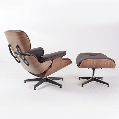 2 * PCS Genuine Dark Brown Leather Eames Lounge Chair and Ottoman Walnut Wood
