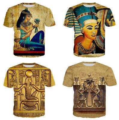 Ancient Egypt Pharaoh Queen Women Men T-Shirt 3D Print Short Sleeve Tee Tops