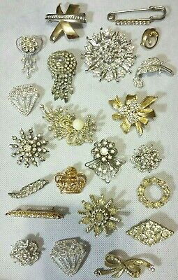 Large Lot of 22 Vintage Clear Crystal Rhinestone Pins BROOCHES Mixed Ages EVC!