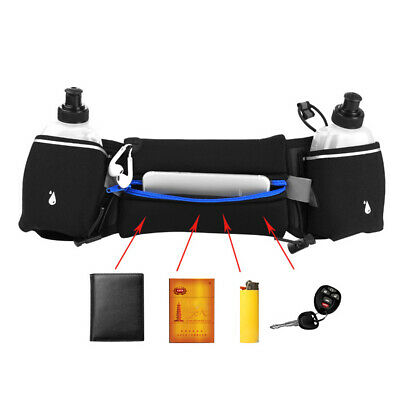 Gym Running Jogging Cycling Waist Pack Pouch Sports Belt Bag + 2x Water Bottles