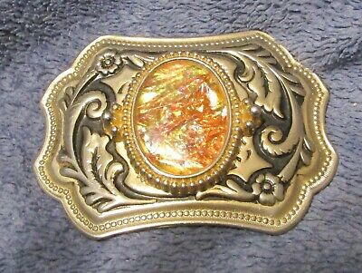 Vintage Funky Belt Buckle, Gold tone with Enameled Center