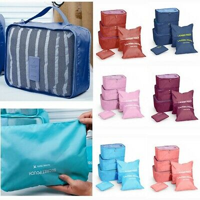 6PCS Waterproof Cube Organizer Pouch Clothes Storage Bag Packing Travel Luggage