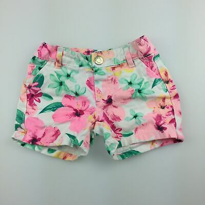 Girls size 2, Carter's, bright floral cotton shorts, elasticated, GUC