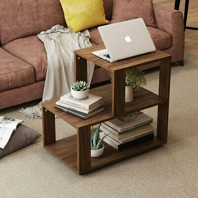 Tribesigns Rustic Finish Side End Table 3-Tier Decorative Shelf for Living Room