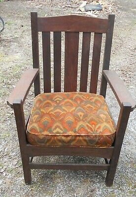 Antique Arts & Crafts Mission Oak Slat Back Armchair
