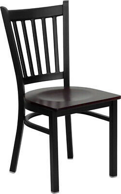 (10 PACK) Black Vertical Back Metal Restaurant Chair with Mahogany Wood Seat