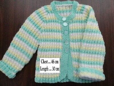 Baby Hand Knitted  Cardigan In White Lemon & Mint... Chest : 46 Cm