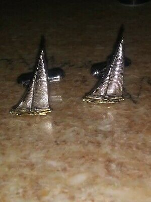 SAILBOAT Vintage Nautical Cufflinks Silver and Gold Tone by Hickok Made In USA