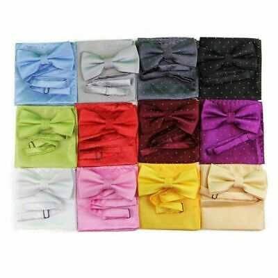 Mens 2 Pcs Combo: Bow Tie + Pocket Square Hanky Handkerchief Silver Polka Dot