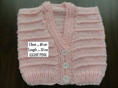 Baby Hand Knitted Vest In Light Pink : Chest : 40 Cm