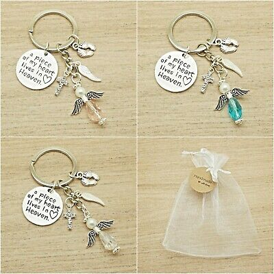 Baby Loss. A Piece Of My Heart Lives In Heaven. Angel Keyring. Memorial.gift Bag