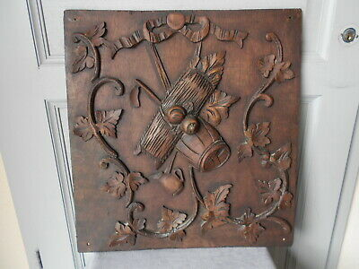 Antique French  CARVED WOOD PLAQUE PANEL BOARD
