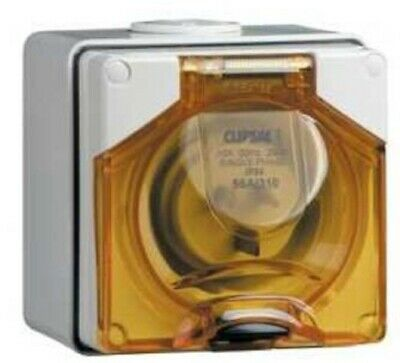 Clipsal 56-SERIES INDUSTRIAL APPLIANCE INLET 250V 3-Pins Flat GREY- 10A Or 15A
