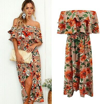 UK Boho Womens Off Shoulder Floral Midi Ladies Summer Beach Party Dress Sundress