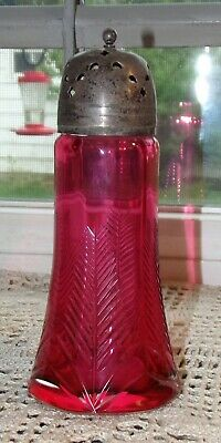 Antique cut cranberry art glass sugar shaker muffineer sifter 1880 leaf or tree