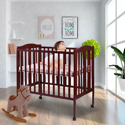 2 in 1 Wood Baby Crib Coffee Toddler Bed Convertible Nursery Newborn Foldable