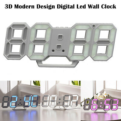 Digita LED Digit Large 3D Table Wall Clock Dimmer Alarm Snooze Home Display UK