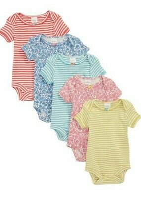 Ex Baby Boden Girls Flower Floral Stripe Bow 5 Pack Bodysuits Vests 2/3 Years