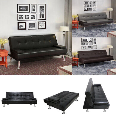 Luxury Design 3 Seater Sofa Bed Recliner Faux Leather Black Brown Grey Color