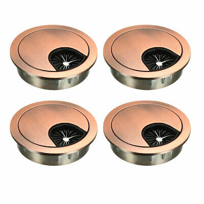 "Cable Hole Cover, 2"" Zinc Alloy Desk Grommet, 4 Pcs (Red Bronze)"
