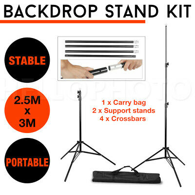 2.5x3M Photography Studio Backdrop Stand Photo Heavy Duty Background Support Kit