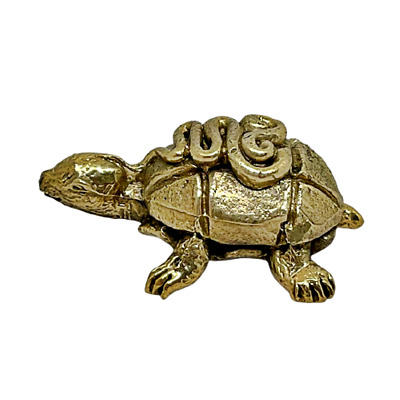 Turtle Tortoise Symbol Good Health Longevity Feng Shui Kids Charm Brass Statue