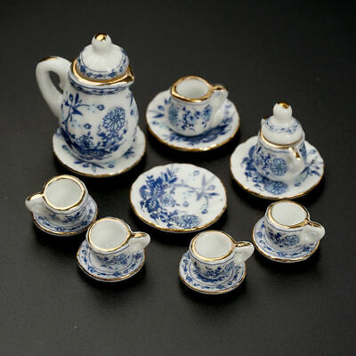 15Pcs Dining Ware Ceramic Blue Flower Set for 1:12 Dollhouse Miniatures New