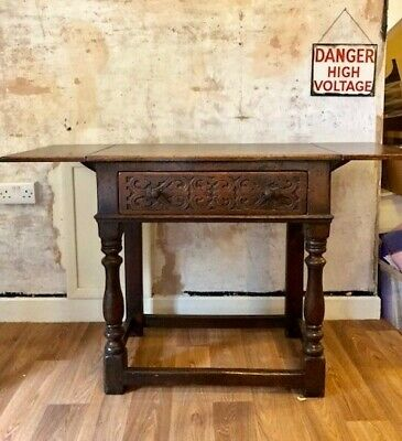 Dark Oak Hall Side Table with Carved Drawer and Extendable Flaps