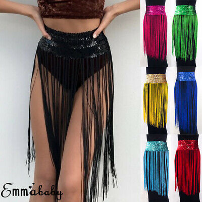 AU Sequin Shiny Club Party Mini Skirt Beach Dress Dance Fringe Sexy Women Skirt