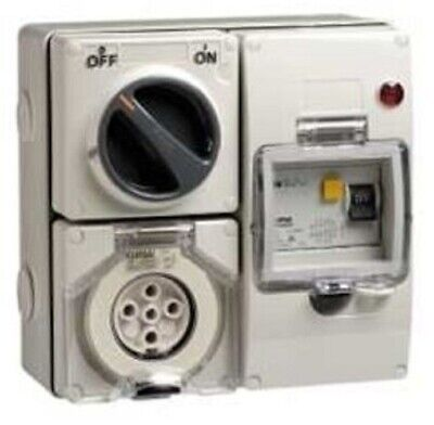 Clipsal RCD PROTECTED SURFACE SWITCHED SOCKET 500V 5-Pins Round GREY- 10A Or 20A