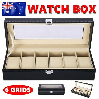 6 Grids Watch Display Case Jewelry Collection Leather Storage Holder Box Gift TW