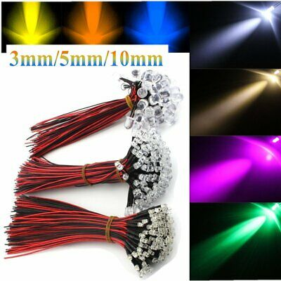 12V 3/5/10mm Water Clear 20cm Cable Pre-Wired Emitting Diode LED Light Wire Blub
